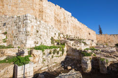 Jerusalem - The south part of town walls and excavations. Royalty Free Stock Photos