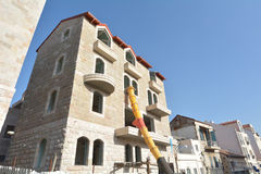 Jerusalem stone facade on Restored building in Jerusalem, Israel Stock Images