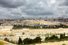 Jerusalem and stormy clouds Stock Images