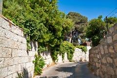 Jerusalem street. Stone walls of the old street in Jerusalem Royalty Free Stock Photo