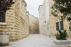 Jerusalem street in the old city . Royalty Free Stock Image