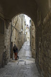 Jerusalem street in the old city . Stock Photo