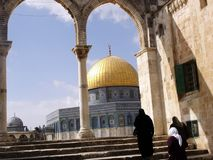 Jerusalem Temple Mount Dome of the Rock. Three women walk towards the Temple Mount Dome of the Rock in Jerusalem, Israel Royalty Free Stock Photography