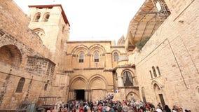Jerusalem Temple of the Resurrection, Sanctum Sepulchrum. People near the Church of the Holy Sepulcher