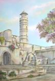 Jerusalem Temple Ruins, Israel. Original Watercolor, on 100% Cotton Hand Made Paper, of Solomon's Temple Ruins, in Jerusalem, Israel; painted by Enrique Cardenas Stock Images