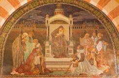 Jerusalem - The Three Magi scene. Mosaic in Evangelical Lutheran Church of Ascension. JERUSALEM, ISRAEL - MARCH 3, 2015: The Three Magi scene. Mosaic in Stock Photography