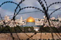 Free Jerusalem Through Razor Wire Royalty Free Stock Photo - 15803165
