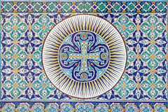 Jerusalem - The tiled Armenian cross in vestibule of St. James Armenian cathedral from end of 19. cent. Royalty Free Stock Photo