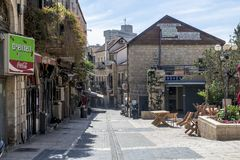 JERUSALEM Tourist places in the city center. Central streets. And old walls Royalty Free Stock Images