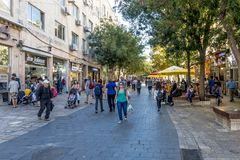 JERUSALEM Tourist places in the city center. Central streets. And old walls Stock Photo