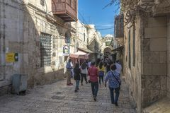 JERUSALEM Tourist places in the city center. Central streets. And old walls Stock Photos