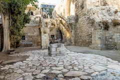 JERUSALEM Tourist places in the city center. Central streets. And old walls Royalty Free Stock Image