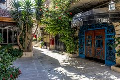 JERUSALEM Tourist places in the city center. Central streets. And old walls Stock Image