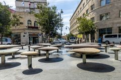 JERUSALEM Tourist places in the city center. Central streets. And old walls Stock Photography