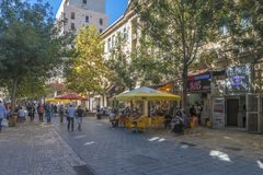 JERUSALEM Tourist places in the city center. Central streets. And old walls Stock Images