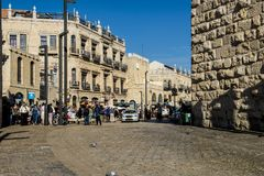 JERUSALEM Tourist places in the city center. Central streets. And old walls Royalty Free Stock Photo