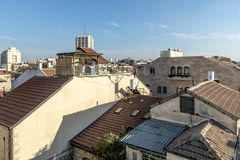 JERUSALEM Tourist places in the city center. Central streets. And old walls Royalty Free Stock Photos