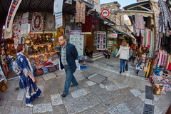 Jerusalem - 04.04.2017: Tourists walk trough the market in the o stock images