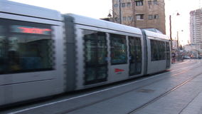 Jerusalem Tram. Tram rides on the street of Jerusalem stock video footage