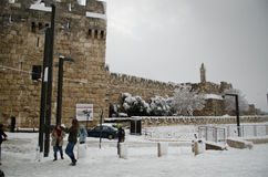 Jerusalem under snowfall Royaltyfri Bild