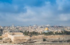 Jerusalem. View of Jerusalem ancient city and Al-Aqsa Mosque royalty free stock images
