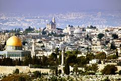 Jerusalem view from the Olive mountain, Israel Royalty Free Stock Photos