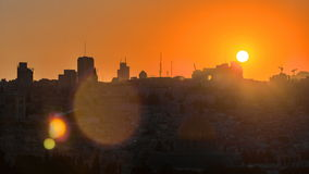 Jerusalem view over the City at sunset timelapse with the Dome of the Rock from the Mount of Olives. stock footage