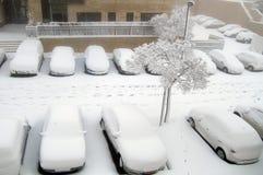 Jerusalem von Weiß: Schnee fällt in Kapital Stockfotografie
