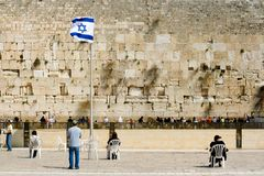 Jerusalem, Wailing Wall. The religious orthodox Jews pray at the western wall. Jerusalem, Israel Stock Image