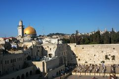 Jerusalem -wailing wall. Jerusalem wailing wall, Dome of the Rock and Al-Aqsa Mosque Royalty Free Stock Photography