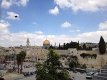 Jerusalem. Wailing wall mosque dome of the Rock Israel pilgrims flag stock photography
