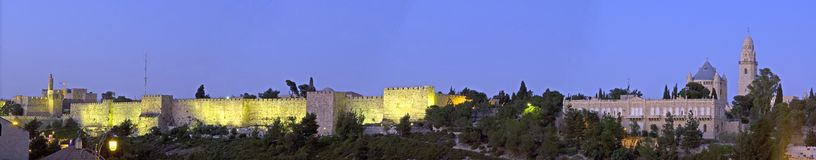 Jerusalem wall. The old city of Jerusalem just after sunset