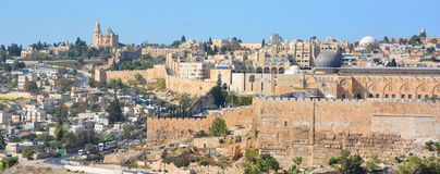 Jerusalem wall and Al-Aqsa Mosque Stock Photography