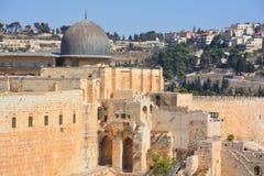 Jerusalem wall and Al-Aqsa Mosque. JERUSALEM ISRAEL 26 10 16: Jerusalem wall and Al-Aqsa Mosque, also known as Al-Aqsa and Bayt al-Muqaddas, is the third holiest Stock Image
