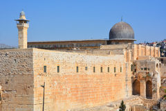 Jerusalem wall and Al-Aqsa Mosque Royalty Free Stock Photo