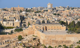 Jerusalem wall. JERUSALEM ISRAEL 26 10 16: Jerusalem wall and Al-Aqsa Mosque, also known as Al-Aqsa and Bayt al-Muqaddas, is the third holiest site in Sunni Stock Image