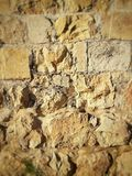 Jerusalem wall prayer stone. Close up photo, ancient cement, religious place Royalty Free Stock Photo