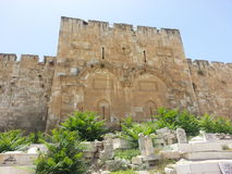 Jerusalem walls Eastern or Golden gate. Majestic view of the famous Golden Gate.  It is believed that this gate to Jerusalem's Temple Mount will remain sealed Stock Images
