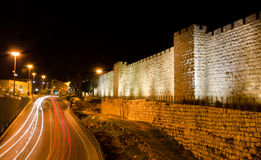 Jerusalem walls at night Royalty Free Stock Photos