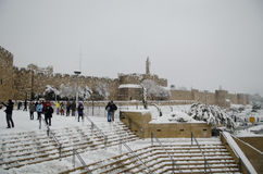 Jerusalem walls during snowfall stock images