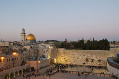 Jerusalem, The Western Wall and the Dome of the Ro. Ck at twilight time stock photo