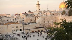 Jerusalem, western wall and dome of the rock, Israel flag, general plan stock video footage