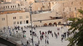 Jerusalem, Western Wall and Dome of the Rock, Israel flag, general plan stock video