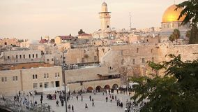 Jerusalem, Western Wall and Dome of the Rock, Israel flag, general plan, Timelapse stock video