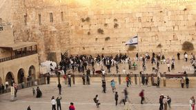 Jerusalem, Western Wall, Timelapse, people in the area, a lot of people, people pray at the stone wall, wailing wall stock footage
