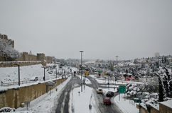 Jerusalem in winter during snowfall Stock Images