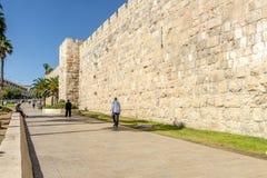 JERUZALEM de belangrijkste poorten en de vestingsmuren van de oude stad Stock Afbeelding