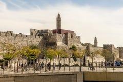JERUZALEM de belangrijkste poorten en de vestingsmuren van de oude stad Stock Afbeeldingen