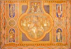 Jeruzalem - de oude stad van Jeruzalem en de kruisvaarderkoningen Verf op plafond van Evangelische Lutheran Kerk van Beklimming stock foto's