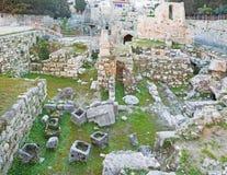 Jeruzalem - de ruïnes van Bethesda-pool Stock Foto's